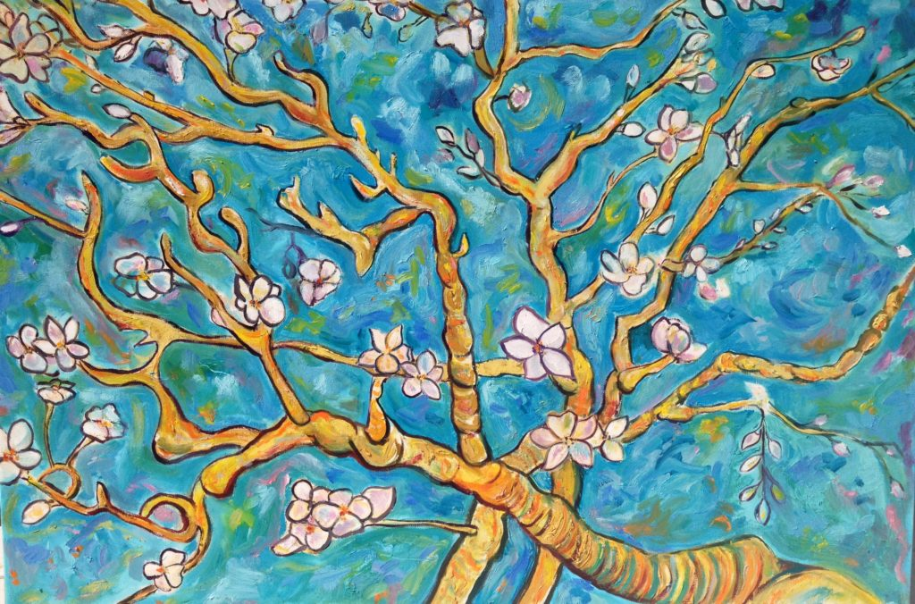 Impressions of Almonds in Bloom, 40x30, oil on canvas.
