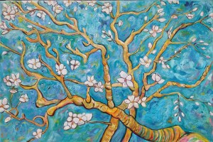 "Impression of Almond Trees in Bloom, 2015, 36x24"", oil on canvas."