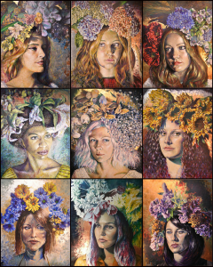"First 9 in Luque's Girls with Flowers series. Each paintings is 58""x72"" and are oil on canvas (click to enlarge)."
