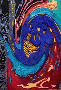 Streaming Into Being, bas relief: mixed media on wood 30 x 44 in/76 x 112 cm