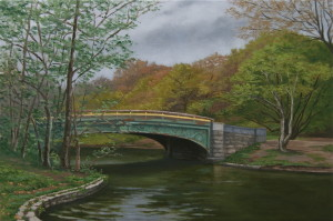 "Lullwater Bridge, 2016, oil on linen, 15x10""."