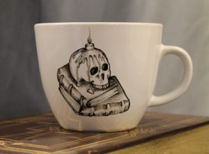 Hand Painted Skull Candle Literary Mug