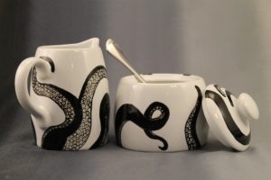Tea with Tentacles: Hand Painted Octopus Themed Sugar Bowl and Creamer