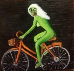 Naked Zombie Girl on an Orange Bike